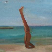 A yoga man, 20x12, Oil on wood, 2007
