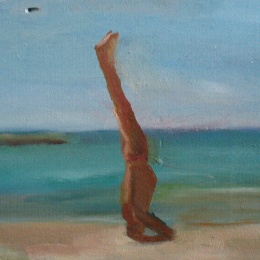 A yoga man, 20x12, Oil on wood, 2007