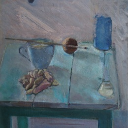 Chair and Peanuts, 40x44.5, Oil on Canvas, 2010