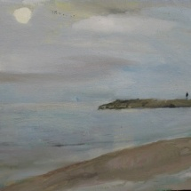 Man and moon, 43x36, Oil on canvas, 2008